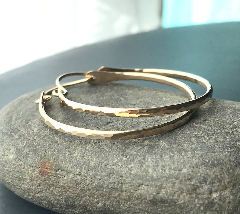Gold Hoop Earrings Medium Gold Filled Thick Wire Hoops image 0