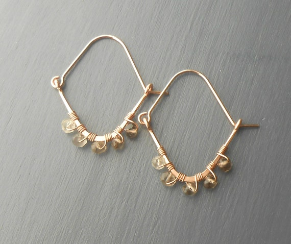 Wire Wrapped Rose Gold Hoop Earrings with Smokey Quartz Beads