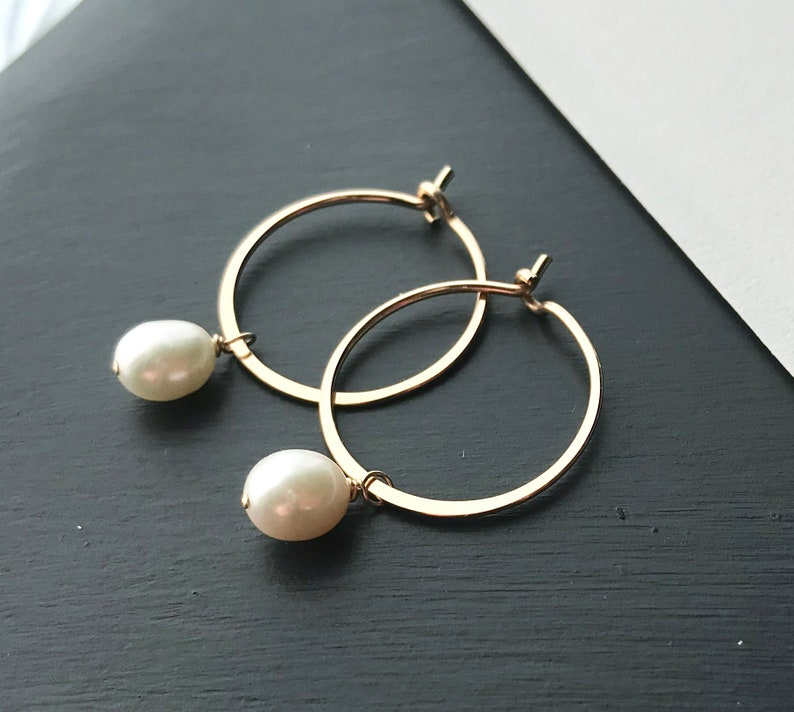 Gold Pearl Hoop Earrings Small Gold Filled Hoops With Pearl image 0