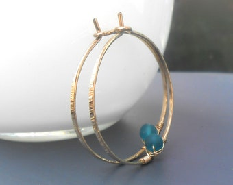 Gold Hoop Earrings, Hammered Medium Gold Filled Hoops With Teal Glass Bead