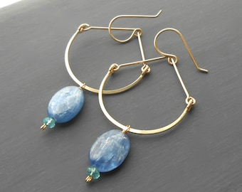 Long Gold Dangle Earrings, Boho Gemstone Earrings, Blue Kyanite Drops