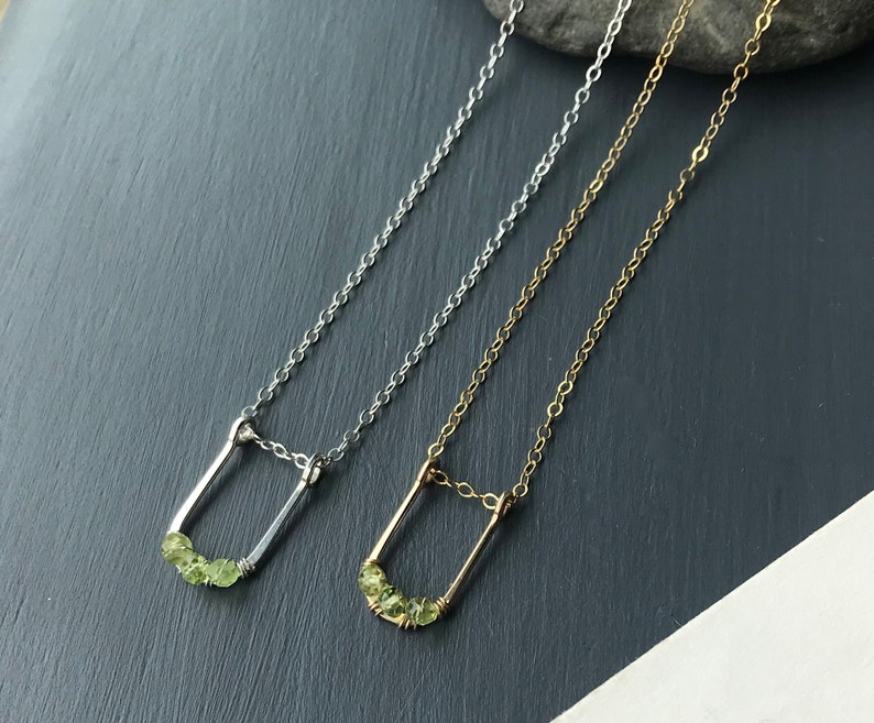 Peridot Necklace Sterling Silver Gold Filled Gemstone image 0