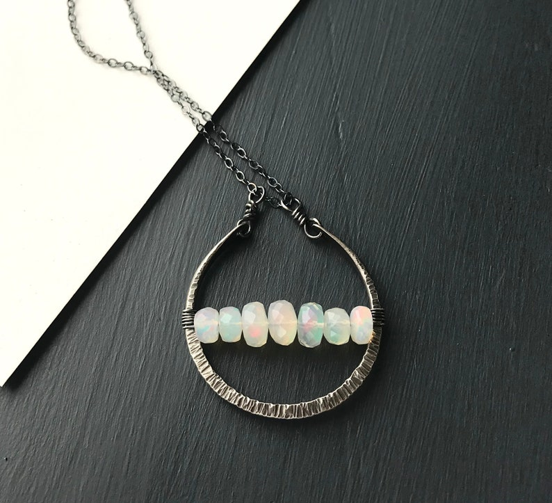 Ethiopian Opal Necklace Oxidized Sterling Silver Long Stone image 0
