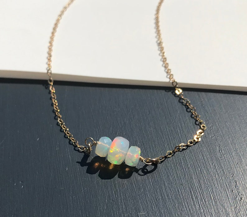 Opal Necklace Gold Filled Necklace Chain with Ethiopian Opal image 0