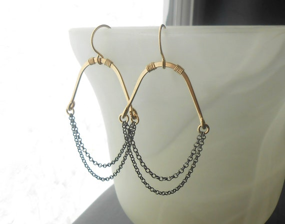Large Black And Gold Dangle Earrings, Gold filled with Oxidized Silver Chain Earrings