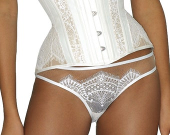 Small only - Giselle lace panties - white panties, white lace lingerie, wedding lingerie, trousseau, lace knickers, silk panties, silk