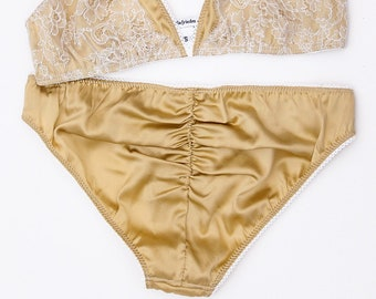 0b28a9d5db Isabel silk and lace knickers gold French lace panties blush