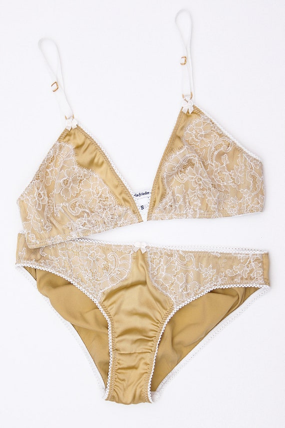 dcb7d1087e3d9 Marigold silk and lace bra yellow gold white bralette with