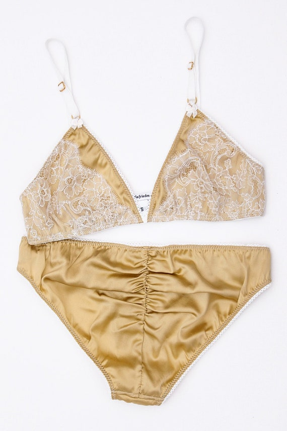 ddf627e6f0 Marigold silk and lace knickers gold French lace panties