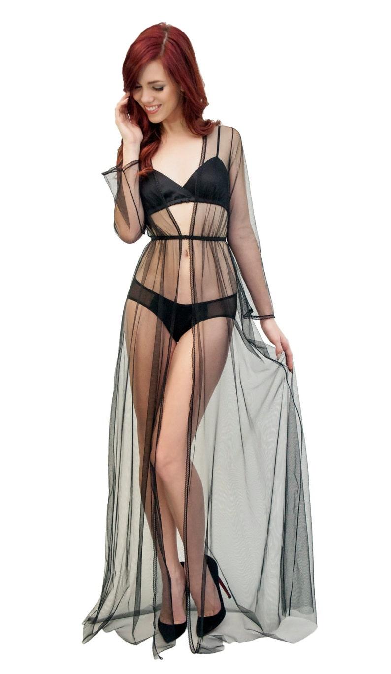 2c9f4901339 Clair de Lune tulle robe sheer see-through black mesh robe in