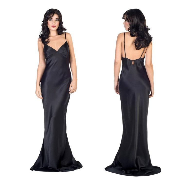 a1afc6b25cfe Lavinia 100% silk gown black satin night gown silk bias cut | Etsy