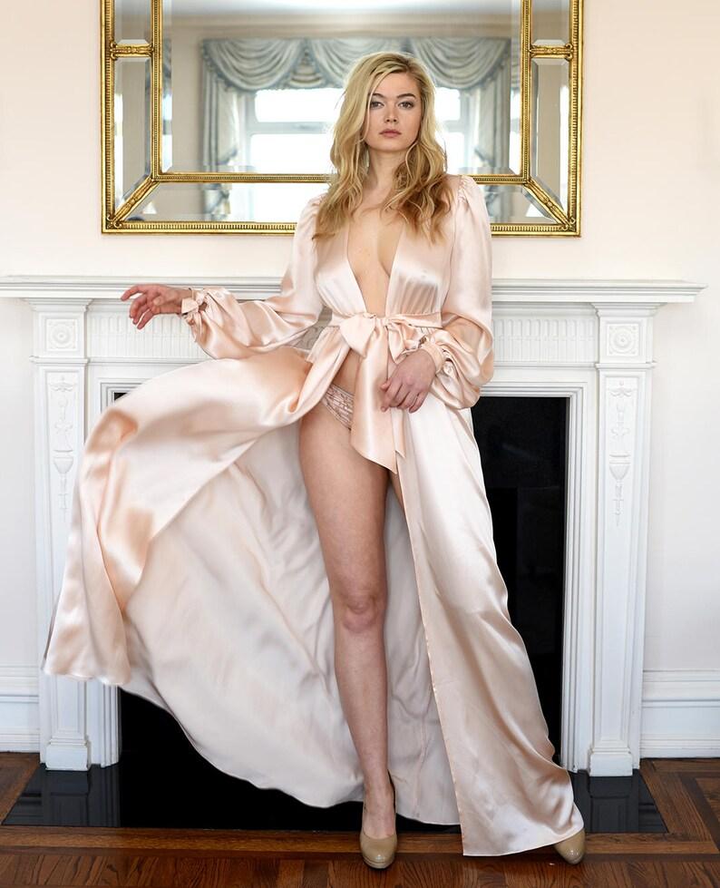 6ad39609a 100% silk floor length robe Simone blush pink silk satin
