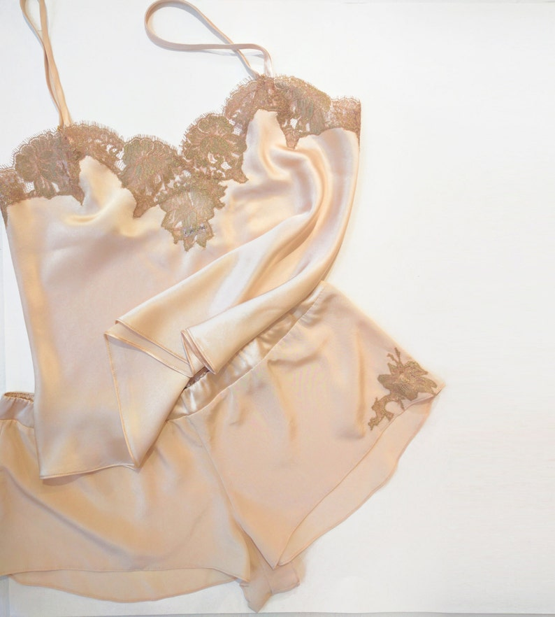 be63e50408 Silk lingerie set  Genevieve 100% silk camisole and tap pants