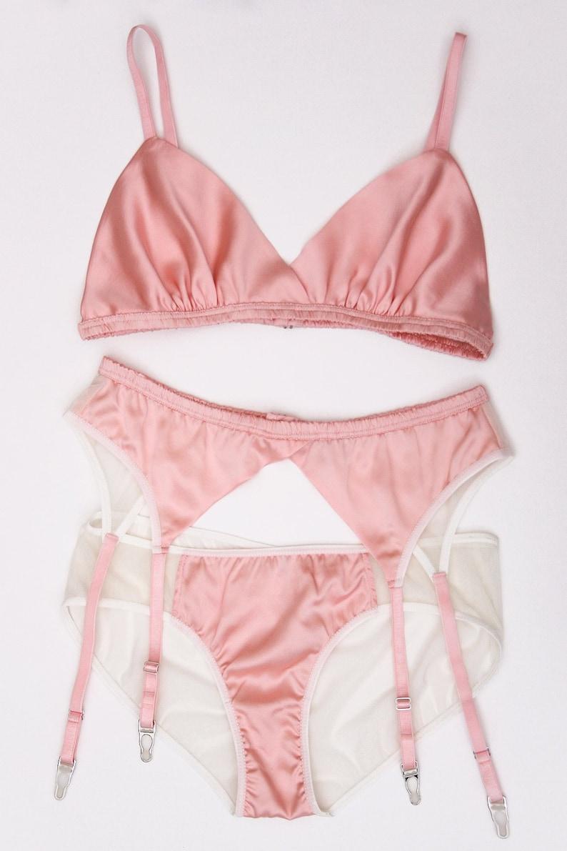 9841745841 Louisa pink silk bralette 100% silk satin triangle bra bras