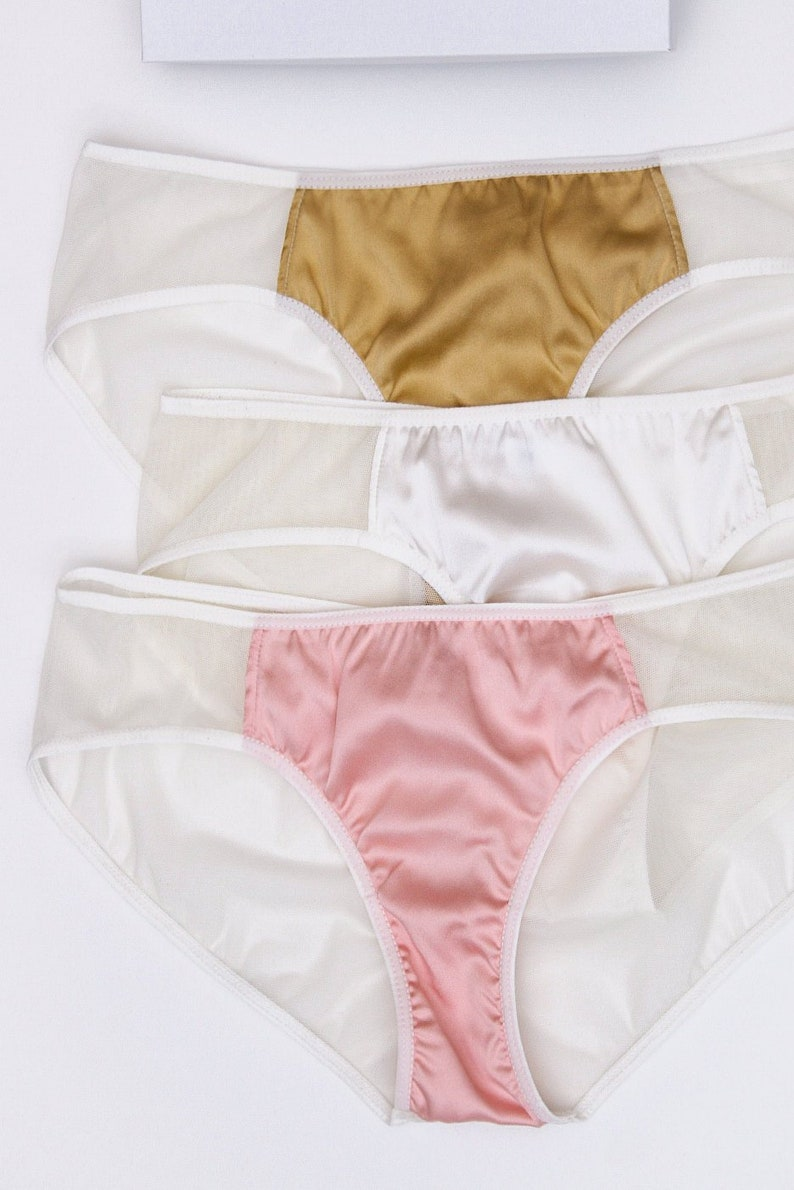 44774237619 3 silk knickers in pink white and gold lingerie gift set