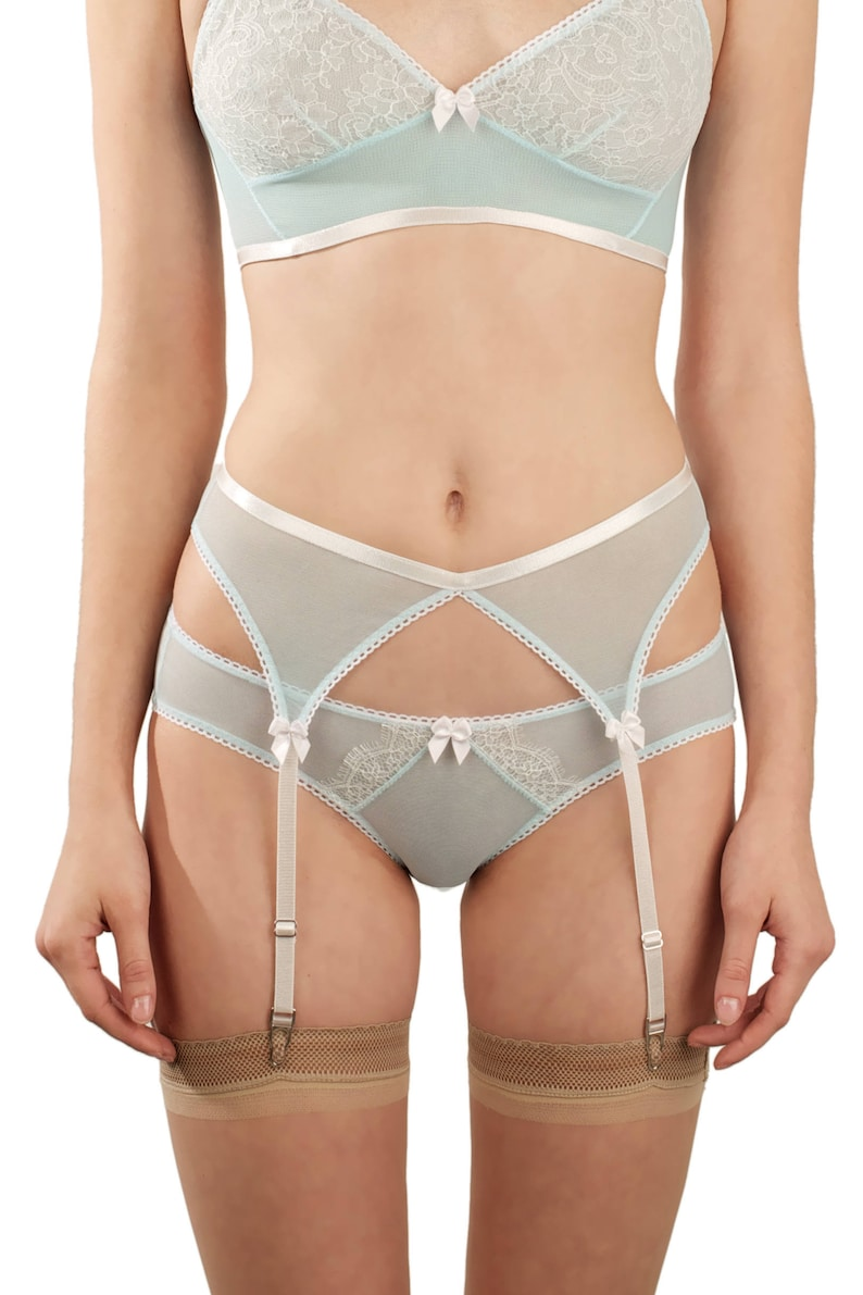 8257247394 Natalie blue suspender belt - light pale pastel blue white garter belt in  power mesh