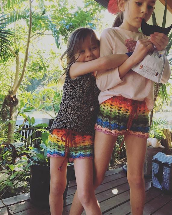 Muschel häkeln Regenbogen-Shorts Boho Kinder Shorts | Etsy