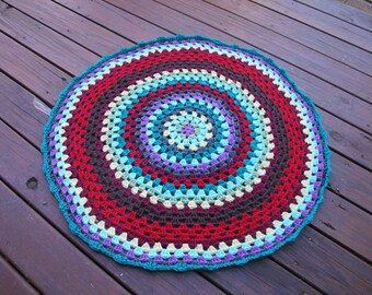 Misty Mandala Throw - Mini crochet mandala blanket, baby pram blanket, hippy boho gypsy fashion blanket.