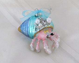 Hermit Crab Seashell Ornament, Pastel Crab Christmas Ornament, Hermit Crab Christmas Ornament, Coastal Xmas Tree Ornament, Bling Hermit Crab