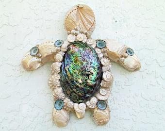 Sea Turtle Art, Abalone Shells on Turtle Wall Sculpture, Seashell Turtle Wall Art. Sea Turtle Lover Gift, Abalone Shell Turtle, Shell Turtle