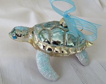 Turtle Ornament, Mercury Glass Sea Turtle Christmas Tree Ornament, Aqua Turtle Ornament, Sea Turtle Xmas, Sea Turtle Xmas Tree Decor