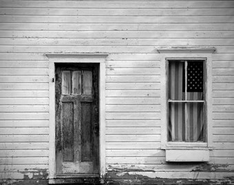 Old House with American Flag Black and White Photograph
