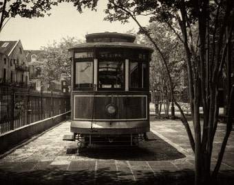 Streetcar Named Desire Photograph, real streetcar named Desire, New Orleans photograph, black and white streetcar photo, streetcar