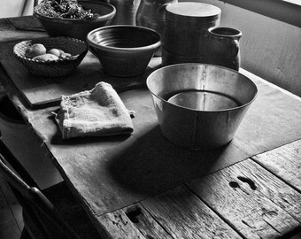 Rustic Farm Table No. 1 -- Black and White Photograph