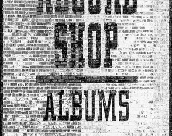 Nashville Record Shop Sign - Two Stories Tall 10 x 14 inch black and white photograph
