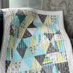 """Modern Baby Quilt Patterns pdf,Triangle block pattern,Pyramid Scheme,modern style quilt, quilt size is  23"""" x 35"""""""