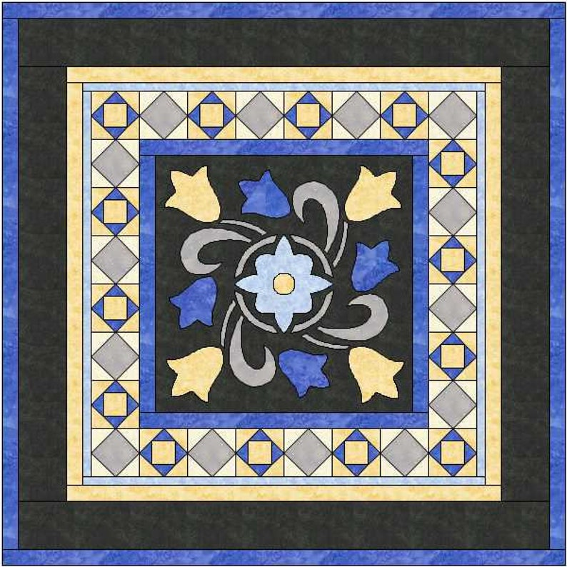 PDF Pattern Ready to Print Quilt Square Wool Applique Pattern Tulips Quilt Applique Pattern Cotton Applique Pattern