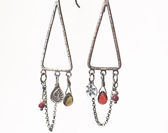 Dream Catcher Charm Earrings with Garnets, Ruby and Pearls, sterling silver, stamped, handmade , dangle
