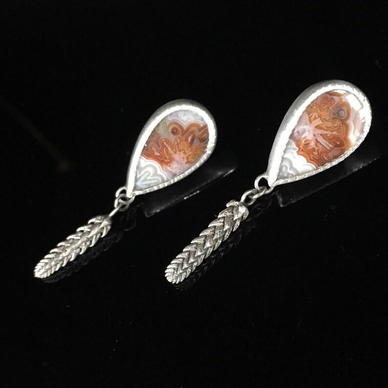 leaf pattern Studs handmade succlents Agua Nueva Agate Earrings Sterling silver orange and white