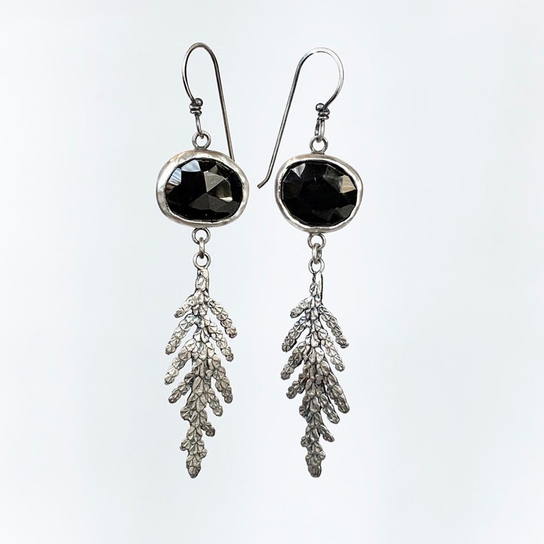 Black Spinel Earrings with Fern dangles in sterling silver image 0