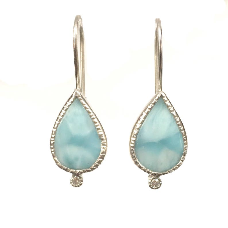 Larimar and Diamond Earrings in Sterling Silver caribbean image 0