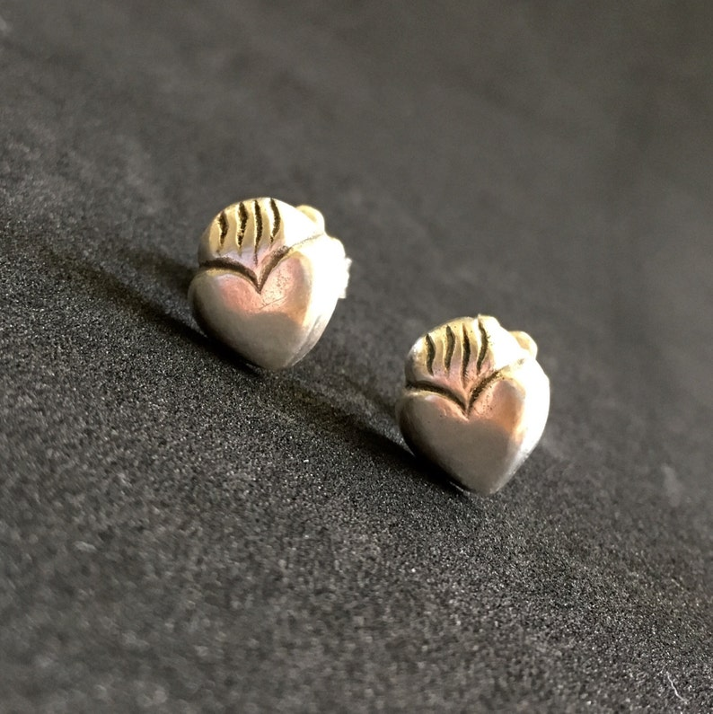 Sacred Heart Stud Earrings in Sterling Silver flaming heart image 0