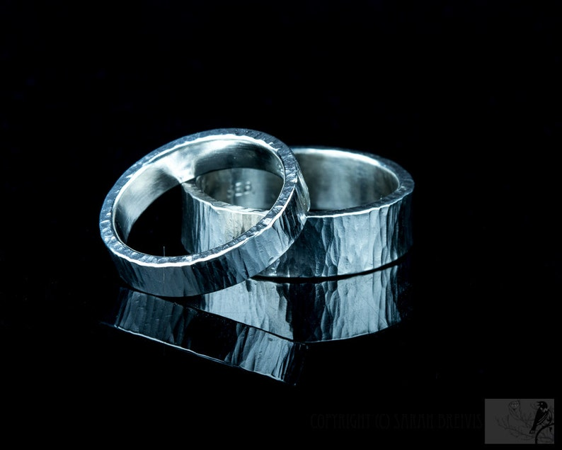 Wedding Bands in Sterling Silver Hammered Bands Set pair of image 0