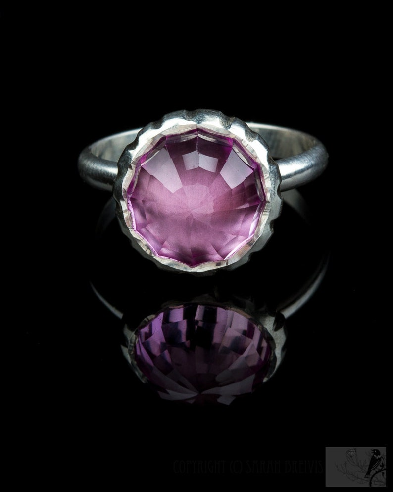 Pink Lab Sapphire Ring Eco friendly checkerboard cut high image 0