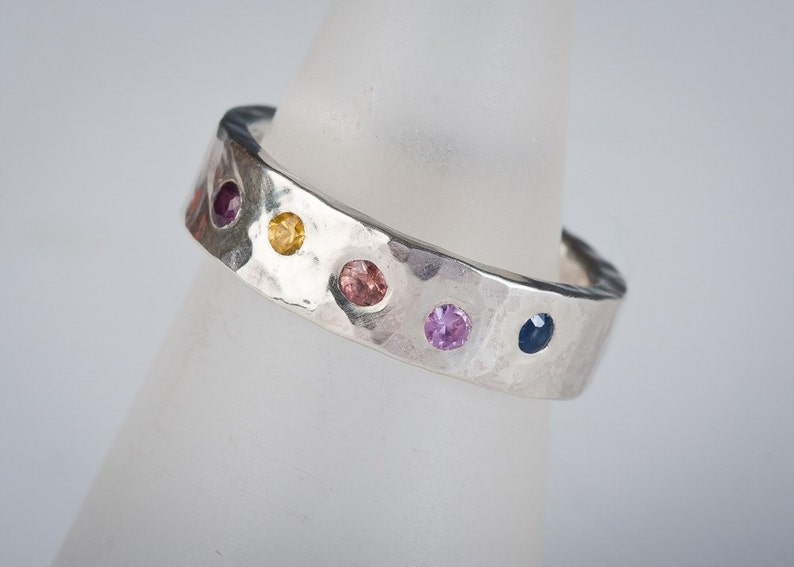 Sapphire Rainbow ring in sterling silver multi colored image 0