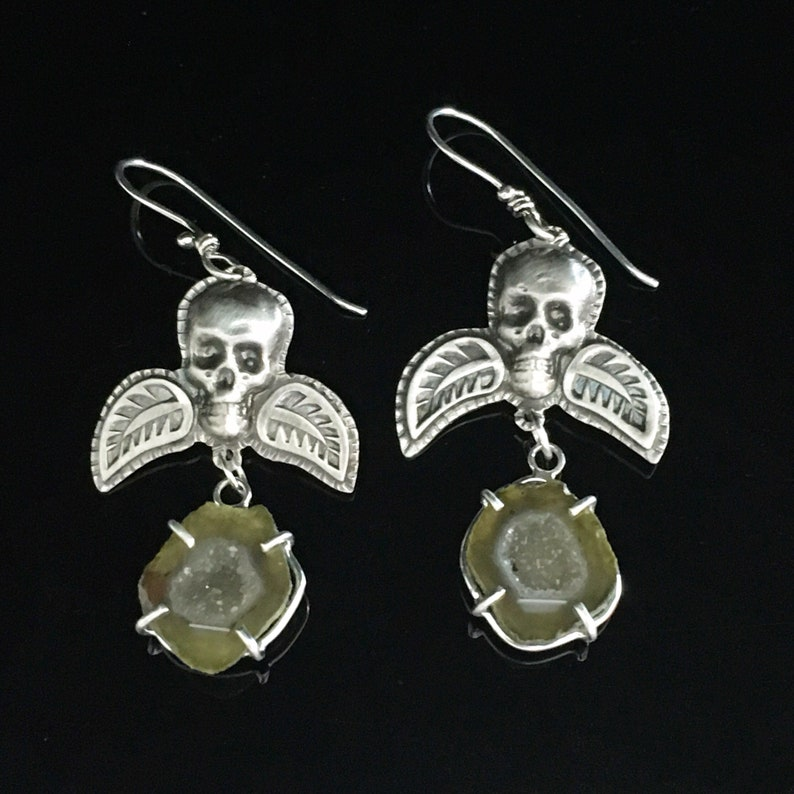 Winged Skulls with Mini Geodes earrings in Sterling Silver image 0
