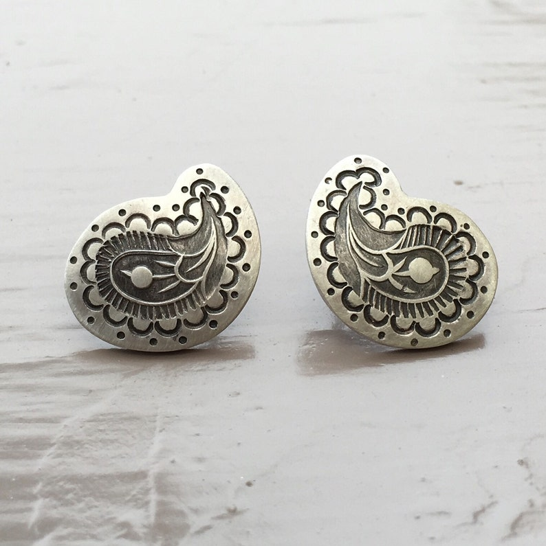 Paisley stud earrings in silver stamped hand stamped posts image 0