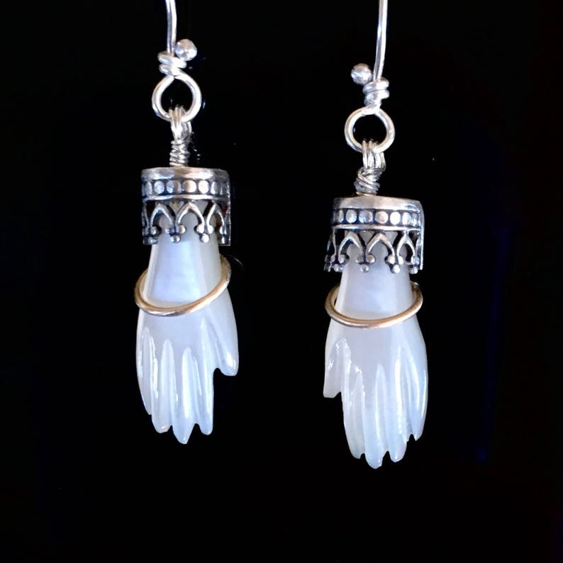 Hand Earrings with 18K Gold bangle Mother of Pearl sterling image 0