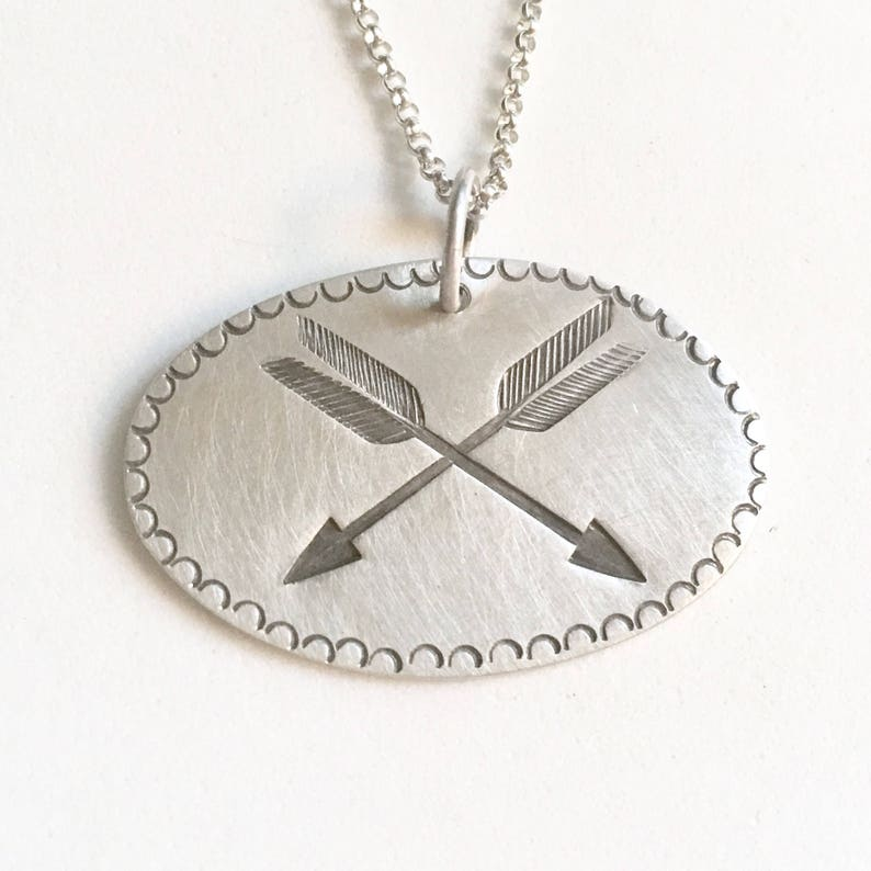 Double Arrow stamped Silver pendant archery friendship image 0