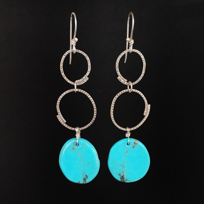 Nacozari Turquoise stamped earrings sterling silver dangles image 0
