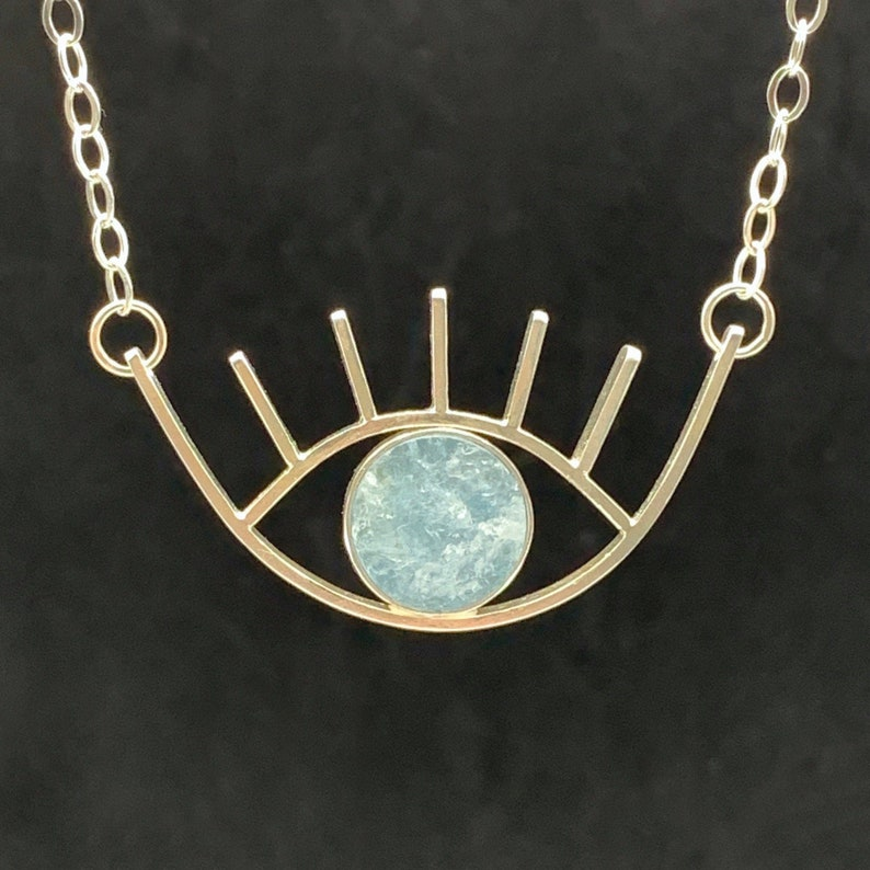Aquamarine Eye Pendant in Sterling Silver evil eye natural image 0