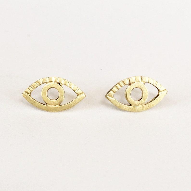 18K Gold Eye Stud Earrings all seeing eye third eye evil image 0