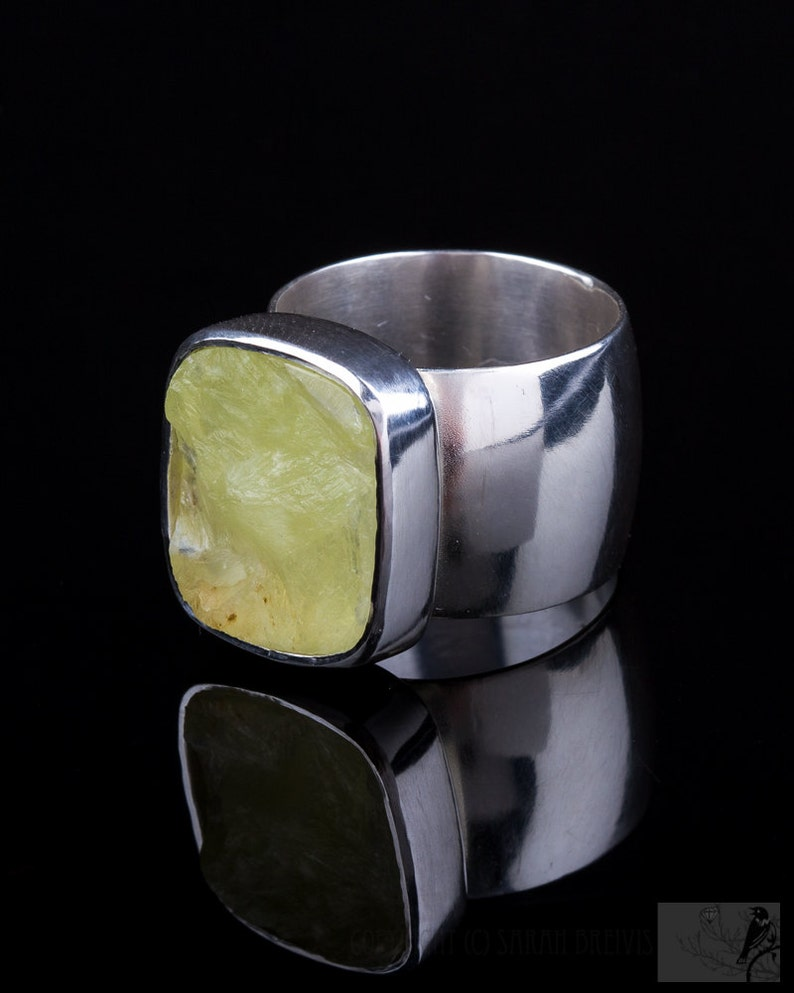Rough Top Yellow Green Prehnite Wide Band Ring Sterling image 0