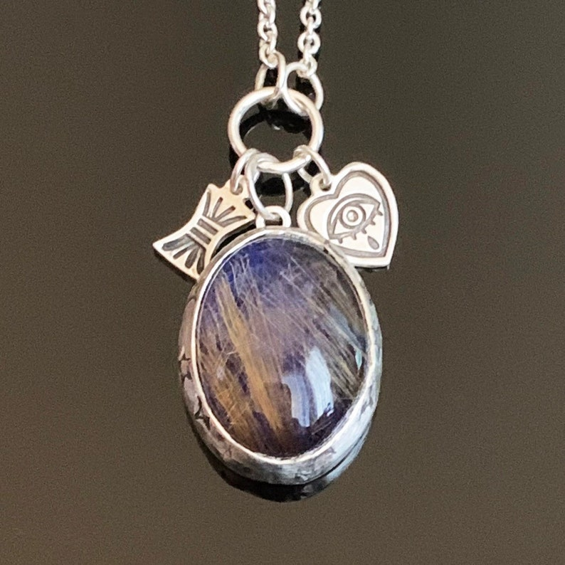 Golden Rutilated Quartz and Lapis Lazuli Charm Pendant image 0