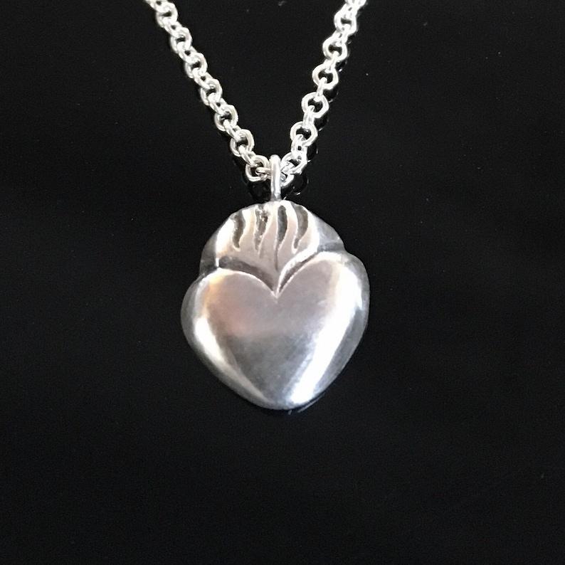 Sacred Heart Pendant Milagros heart flaming heart charm image 0
