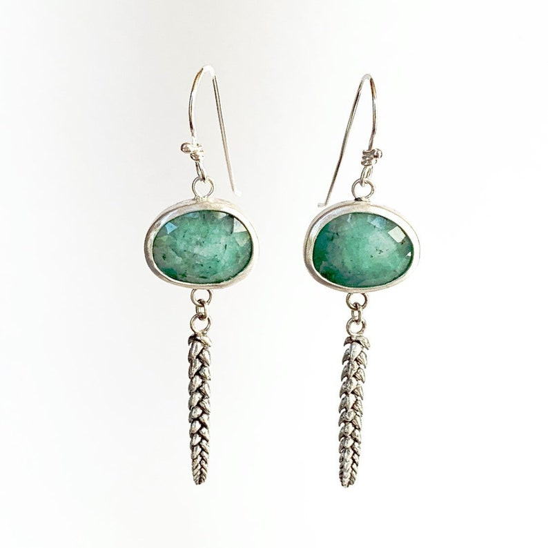 Emeralds and Succulent Dangle Earrings in Sterling Silver image 0